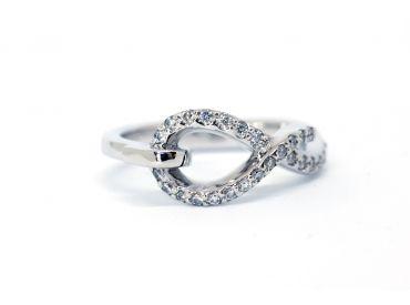 Bague Noose Infinie or blanc diamants