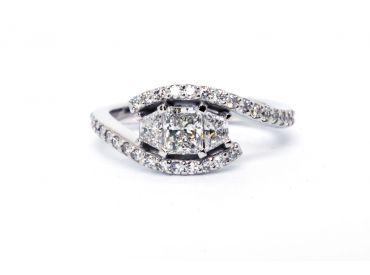 Bague or blanc diamants radian et trapèzes