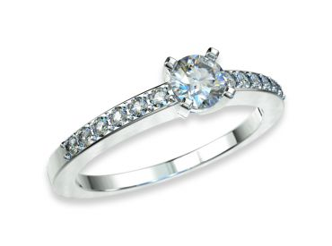 Bague solitaire diamants 0.20 carat or blanc palladié pavage 750 18K