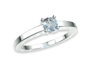 Bague solitaire diamants 0.20 carat or blanc palladié 750 18K