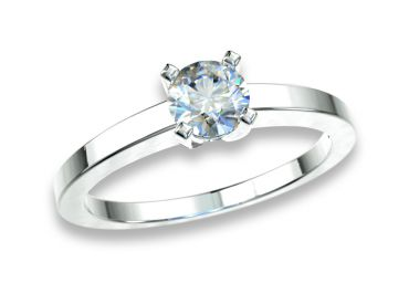 Bague solitaire diamants 0.30 carat or blanc palladié 750 18K