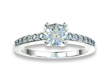 Bague solitaire diamants 0.30 carat or blanc palladié 750 18K avec pavage diamants