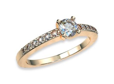 Bague solitaire diamants 0.20 carat or jaune pavage 750 18K