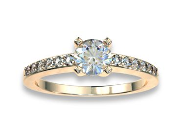 Bague solitaire diamants 0.30 carat or jaune 750 18K avec pavage diamants