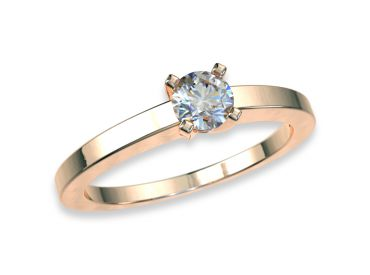 Bague solitaire diamants 0.20 carat or rose750 18K