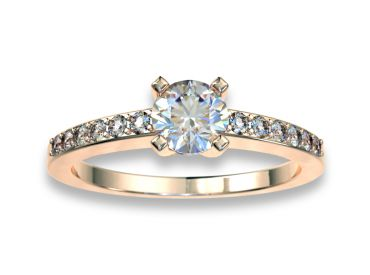 Bague solitaire diamants 0.30 carat or rose  750 18K avec pavage diamants