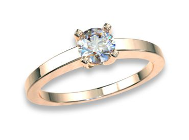 Bague solitaire diamants 0.30 carat or rose  750 18K