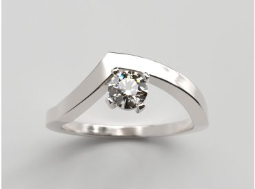 Bague Bylgia or blanc palladié diamant 0.20 ct F/vs