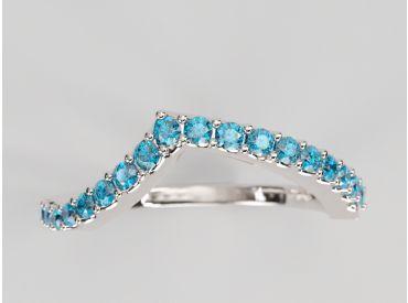 Bague Bylgia or blanc palladié, pavé de diamants bleus