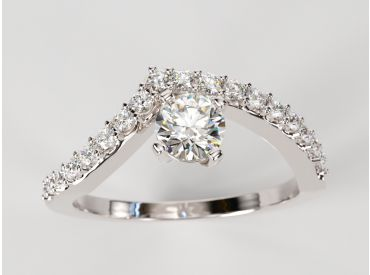 Bague solitaire Bylgia or blanc palladié, pavé de diamants