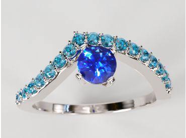 Bague solitaire Bylgia or blanc palladié, pavé de diamants bleus et saphir de Ceylan