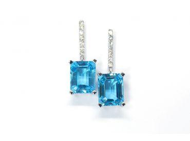 Boucles d'oreilles Topazes et diamants