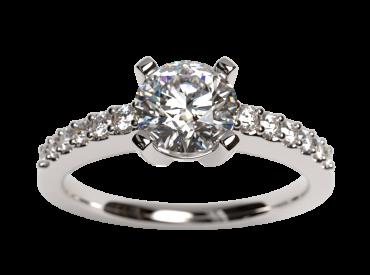 Bague solitaire diamants 0.50 carat F/VS2 GIA or blanc palladié 750 18K avec pavage diamants F/VS