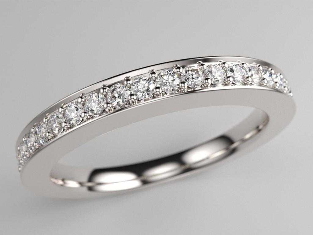 Alliance pavage diamants avec bordures