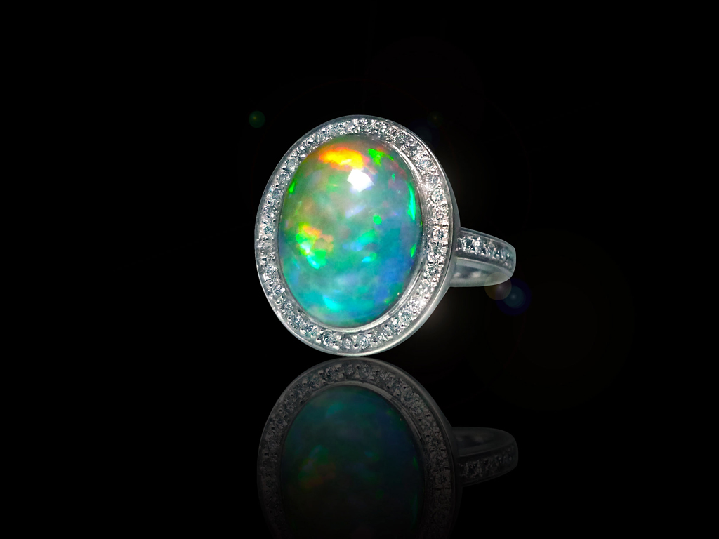 Bague opal diamants réalisation Thomas H