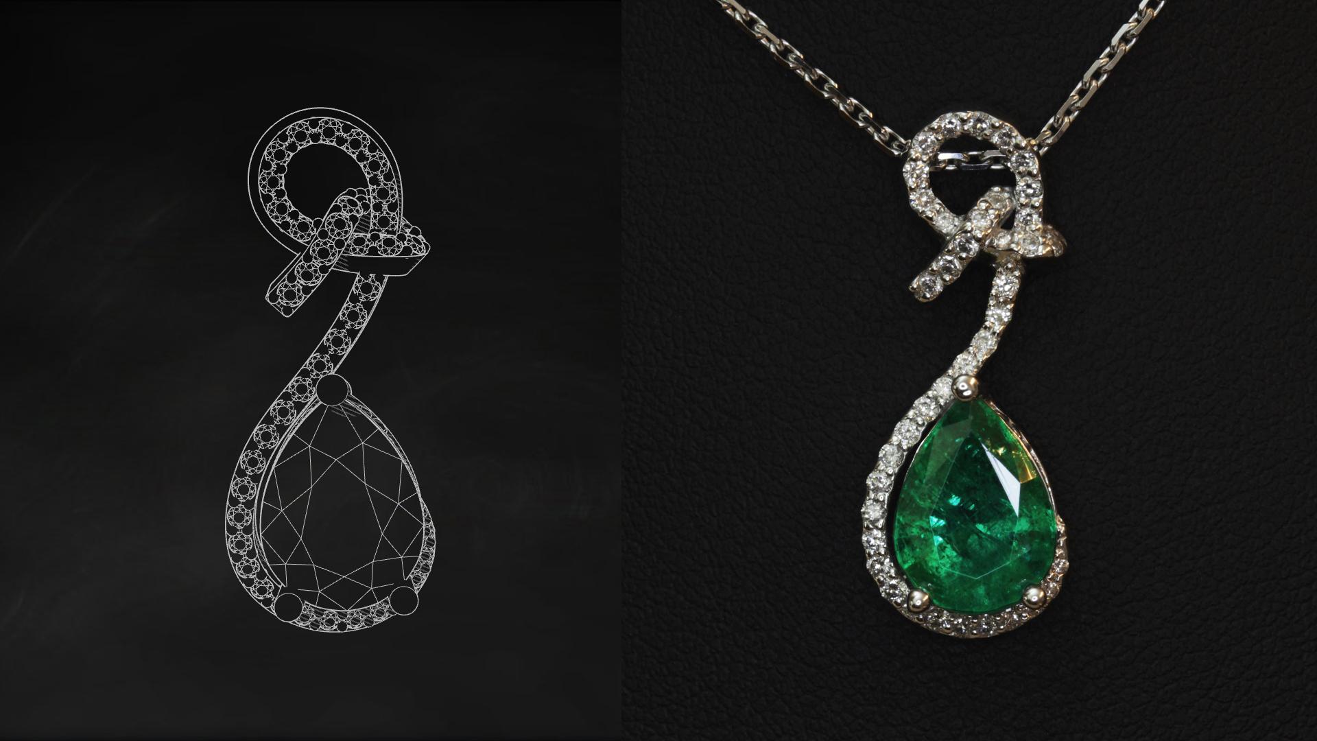 Bijoux sur mesure émeraude diamants