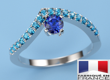 Bague or blanc saphir de Ceylan diamants bleu Thomas h fabriqué en France